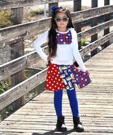 Beary Basics White Apple Top & Patchwork Skirt Set - Infant Toddler & Girls