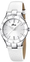 Lotus Women's Quartz Watch with Silver Dial Analogue Display and White Leather Strap 15899/1