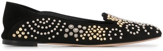 Alexander McQueen Stud Embellished Square Toe Slippers