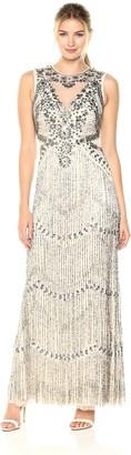 Aidan Mattox Aidan Women's Sleeveless Beaded Fringe Gown with Illusion