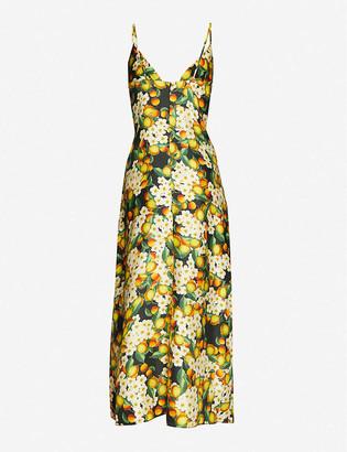 Borgo de Nor Citrus-print silk maxi dress