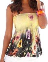 FANOVI Women's Allover Flower Print Hawaii Strapless Tube Smocked Shirt Tops S 6