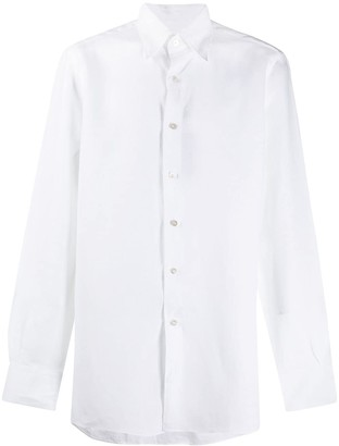 Canali Pointed Collar Linen Shirt