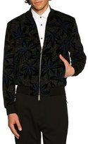 DSQUARED2 Flower-Embroidered Velvet Bomber Jacket, Blue