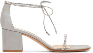 Gianvito Rossi Aria 60 Crystal-embellished Block-heel Sandals - Womens - Silver