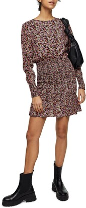 Topshop Floral Shirred Long Sleeve Minidress