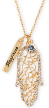 "Rachel Roy Gold-Tone Crystal Hamsa Hand Happiness 32"" Double Pendant Necklace"