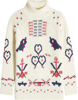 Claudia Schiffer Printed Wool-Cashmere Turtleneck Pullover