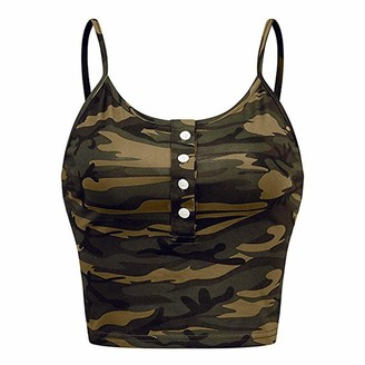 Lopely LOPILY Women's Camo Camisole Yoga Fitness Stylish Sexy Low Cut Vest Camouflage Print Strappy Cami Tank Top Stretchable Button DetailBrown8 UK/S CN