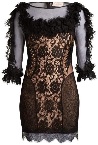Christopher Kane Ruffled Lace Short Dress - Womens - Black