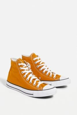 Converse Chuck Taylor All Star Yellow High-Top Trainers - Yellow UK 3 at Urban Outfitters