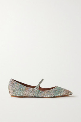 Tabitha Simmons Hermione Glittered Metallic Leather Point-toe Flats - Silver