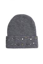 Quiz Grey Pearl Beanie Hat