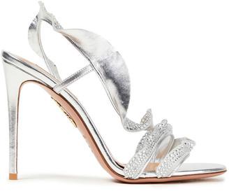Aquazzura Crystal-embellished Ruffled Metallic Leather Slingback Sandals