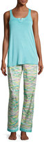 Iza Pearl Paradise Racerback Pajama Set, Light Green
