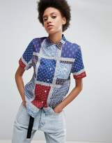 Stussy Oversized Shirt In Paisley Patchwork Print