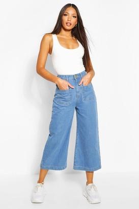 boohoo Tall Denim Front Pocket Culottes