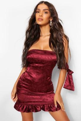 boohoo Satin Jacquard Frill Hem Strapless Dress