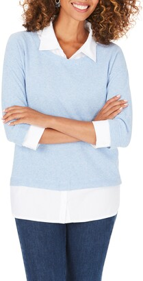 Foxcroft Miles Layered Shirt & Sweater Pullover