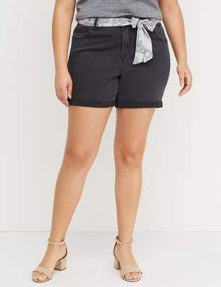 Lane Bryant Girlfriend Denim Short - Belted Faded Black