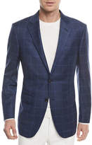 Ermenegildo Zegna Windowpane Check Wool-Silk Jacket