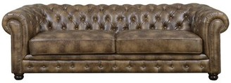 "Caine Chesterfield 91"" Rolled Arm Sofa Trent Austin Design Fabric: Brown Faux leather"