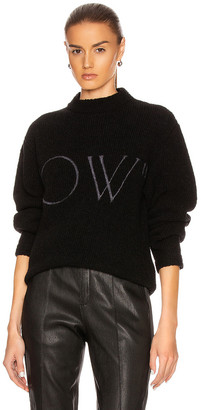 Off-White OW Knit Oversize Sweater in Black & White | FWRD
