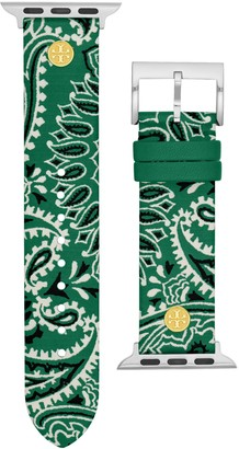 Tory Burch Bandana-Print Band for Apple Watch, Green Multicolor Leather, 38 mm 40 mm