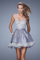 La Femme 21306 Embroidered Sweetheart Organza A-line Dress