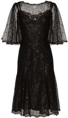 Dolce & Gabbana Draped Metallic Corded Lace Midi Dress