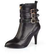 BalaMasa Womens High Heels Low Top Solid PU Winter Fashion Boots