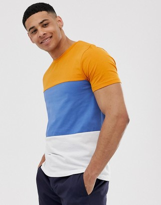 Selected organic cotton t-shirt color block in blue