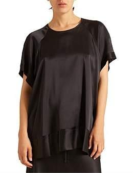 Lee Mathews Rose Silk Satin Short Sleeve Top