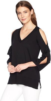 Chaus Women's Cold Shoulder V-Neck Sweater