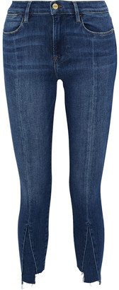 Frame Le High Skinny Cropped Paneled High-rise Skinny Jeans