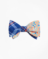 Brooks Brothers Plaid with Ditsy Floral Print Reversible Bow Tie
