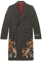 Gucci Herringbone coat with dragons