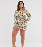 In The Style Plus In The Style x Dani Dyer Plus high waist paperbag short in cream floral