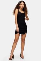 Topshop Womens Black Stretch Denim Scoop Back Bodycon Dress - Black