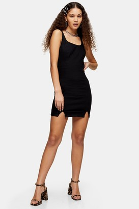 Topshop Womens Black Stretch Denim Scoop Back Bodycon Dress - Black