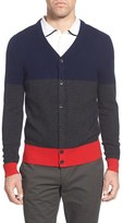 AG Jeans Men's Green Label 'Admiral' Colorblock Mercerized Wool & Cashmere Cardigan