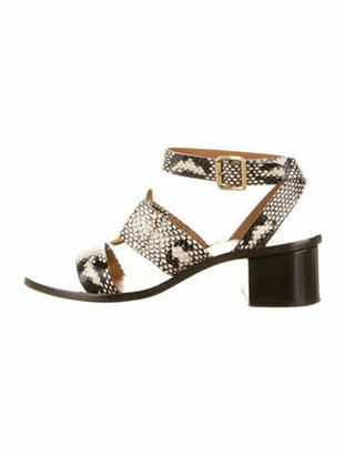 Chloé Embossed Leather Gladiator Sandals Grey