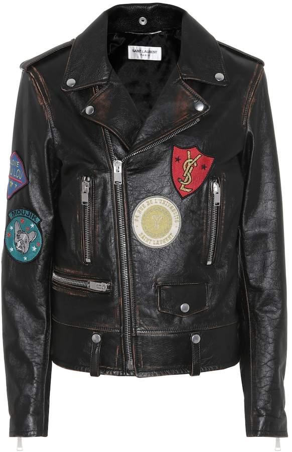 Saint Laurent Leather biker jacket with appliques