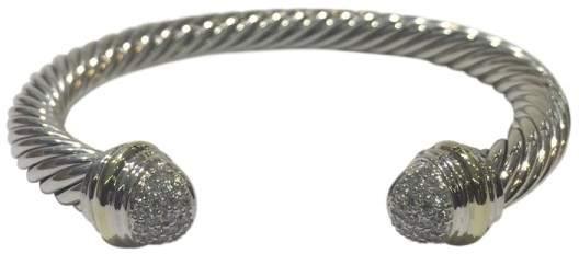 David Yurman Cable Classics Sterling Silver & 18K Yellow Gold 0.49ct Diamonds Bracelet