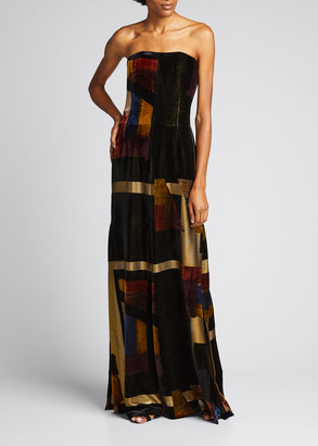 Akris Velvet Patchwork Strapless Gown with Slit Hem