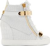 Giuseppe Zanotti White Croc-Embossed Wedge Sneakers