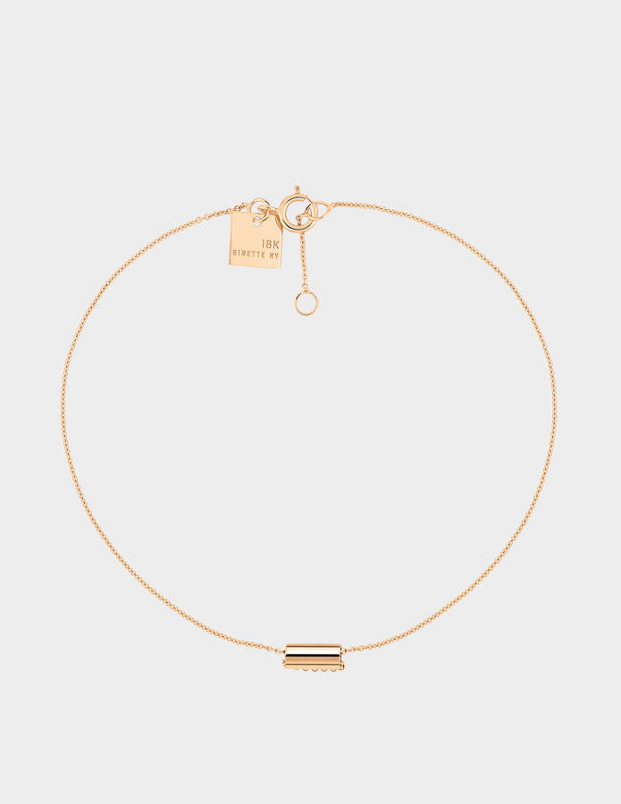 ginette_ny Mini Straw 18-karat rose gold bracelet