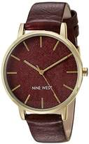 Nine West Women's Quartz Watch with Bordeaux Dial Analogue Display and Red / Brown Leather Strap NW/1958BYBY