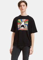 Saint Laurent Men's Shark Print Crew Neck T-shirt In Black