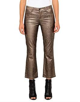 J Brand Selena Mid Rise Crop Boot Cut Jean In Gold Snakeskin Coating